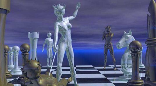 Metalen design schaakspel