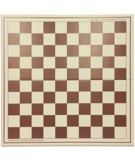Checkers board 50 cm  plastic foldable white/brown - squares 45 mm - size 6