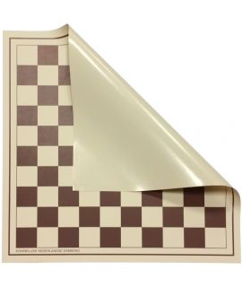Roll-up checkers board 50 cm brown and white squares 45 mm - size 6