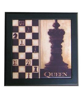 Ceramic decorative tile with wooden frame - Chess Queen