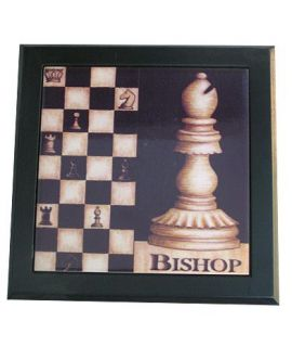 Ceramic decorative tile with wooden frame - Chess Bishop