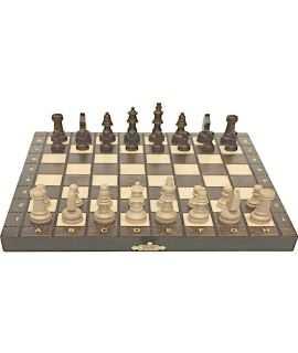 Chess set traditional Carpathian burn technique brown 27 cm