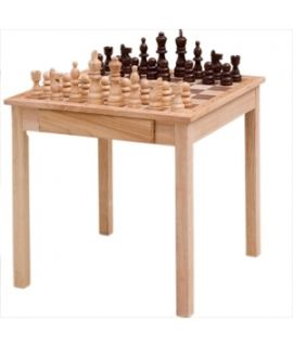 Chesstable rubberwood with chess pieces