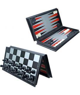 Opvouwbare magnetische schaak backgammon en checkers set 31 cm