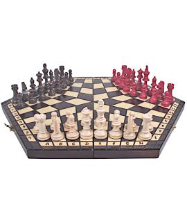 Small 3 player chess set - 160 x 280 x 40 mm - king height 50 mm