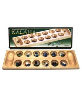 Mancala - Kalaha natural wood with glass beeds 45 x 14 cm