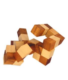 Large wooden snake cube puzzle