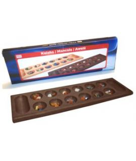 Mancala - Kalaha brown lacquered wood 45 x 14 cm