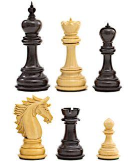 Alexander de Grote ebbenhouten schaakstukken - koningshoogte 114 mm (# 9)