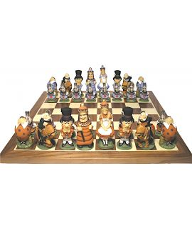 Alice in wonderland hand-painted chess pieces - chess board not included
