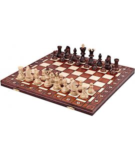 Chess set Ambassador traditional burn technique brown 54 cm