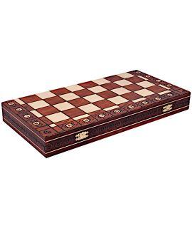 Schaakdoos hout brand techniek met schaakbord - voor schaakstukken tot en met maat 8