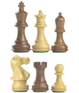Americo schaakstukken verzwaard - gepolijst chikri en palissander - koningshoogte 89 mm (#5)
