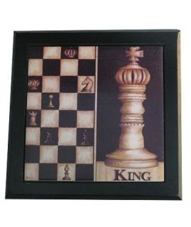 Ceramic decorative tile with wooden frame - Chess King