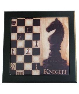 Ceramic decorative tile with wooden frame - Chess Knight