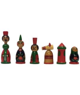 Vintage babushka chess pieces - 83 mm king height - size 3