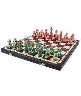 Babushka schaakspel 40 x 20 cm - rood en groen