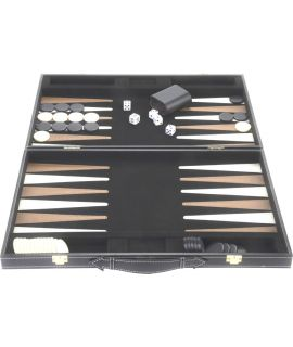 Zwarte backgammon koffer met zwart-bruin-wit binnenin 45 x 28 cm