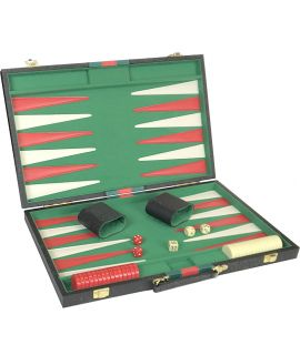 Black / green-red backgammon set 27 x 18 cm