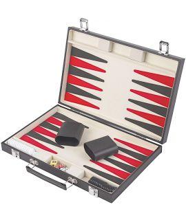 Zwarte backgammon-koffer aan de binnenkant bedrukt met beige-rood-zwart flockbord van 35 x 23 cm