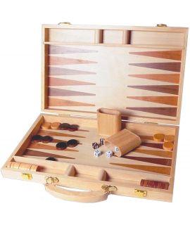 Ingelegde houten backgammon koffer 38 x 26 cm