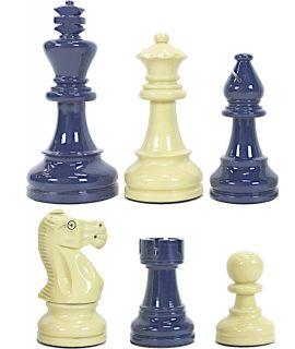 Hoogglans blauw en crème schaakstukken verzwaard - koningshoogte 95 mm (#6)