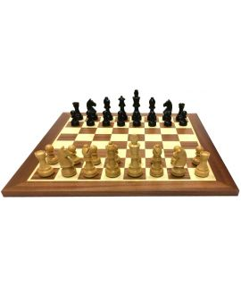 Tournament style chess and checkers set - board 44 cm mahogany  / maple - squares chess 45 mm checkers 35 mm - size 4