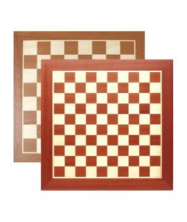 Chess and draughtsboard 54cm mahogany/maple - squares 55mm and 45mm