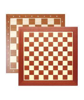 Schaak en dambord 48 cm met notatie - mahonie/esdoorn - velden 50 mm en 40 mm - maat 5