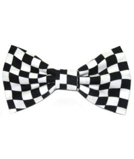 Black and white polyester checkered slim bow tie