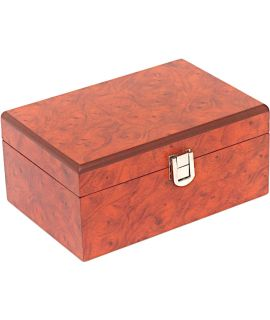Small burl wood chess box 180 x 120 x 83 mm - Staunton 3