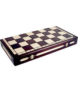 Schaakdoos hout brand techniek met schaakbord - tot maat 12 stukken (koningshoogte 15 cm)