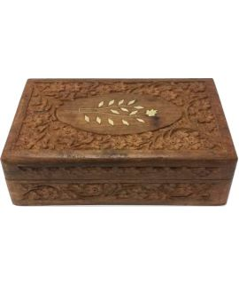 Vintage carved (jewelry / cigar) box 12 x 20 cm - for checkers size 6 - chess pieces size 2