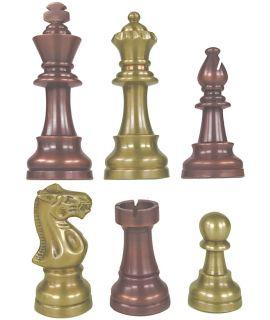 Luxe handgedraaide metalen Lardy schaakstukken (# 5)