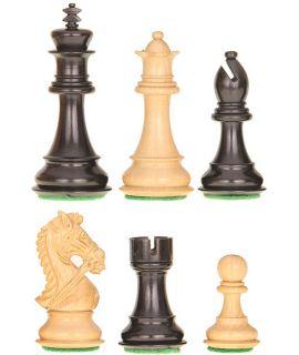 Bruidspaard schaakstukken verzwaard - gepolijst en satijn zwart chikri - koningshoogte 95 mm (#6) & luxe houten doos