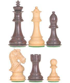 Bruidspaard schaakstukken verzwaard - gepolijst chikri en palissander - koningshoogte 95 mm (#6) & luxe houten doos