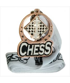 Bronze spinning chess medal with ribbon