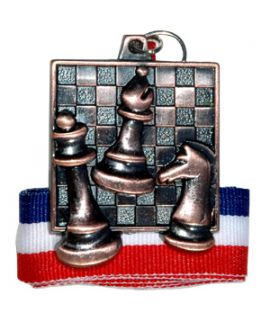 Bronze square chess medal with ribbon