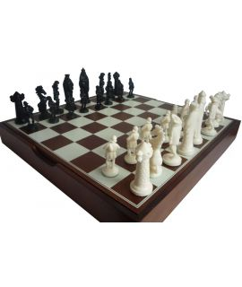 Medieval style cream - black chess set with brown storage box 40 x 40 cm king 96 mm