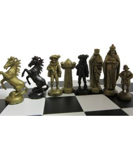 Medieval style gold - black chess set with printed black storage box 40 x 40 cm king 96 mm