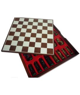 Medieval style gold - black chess set with printed brown storage box 40 x 40 cm king 96 mm