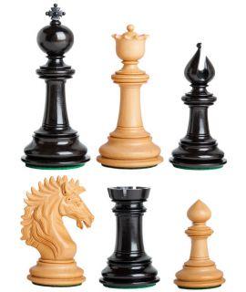 Karel de Grote ebbenhouten schaakstukken - koningshoogte 118 mm (# 9)