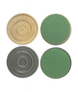 Damschijven 35 mm 2 x 20 stuks met vilt - gepolijst en satijn zwart chikri (#6)