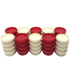 Checkers plastic red and white 29 mm 2 x 20 pieces in plastic bag - size 3 or 4
