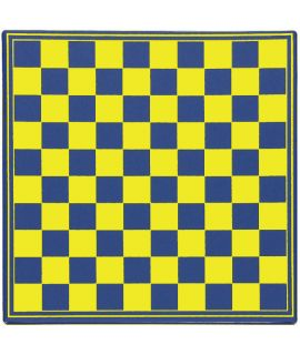 Checkers board 31 cm plastic blue and yellow - squares 29 mm