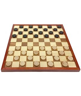 Budget checkers set - checkers 32 mm painted beach - board 42 cm - squares 39 mm - size 5