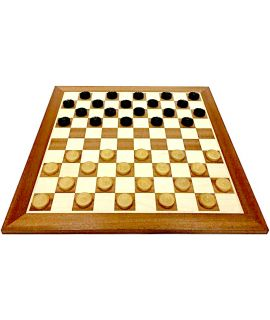 Tournament style checkers set - checkers 35 mm boxwood - board 54 cm mahogany  / maple - squares 45 mm - size 6
