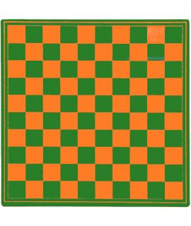 Checkers board 31 cm plastic green and orange - squares 29 mm
