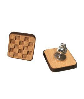 Lasergegraveerde houten geruite oorbellen