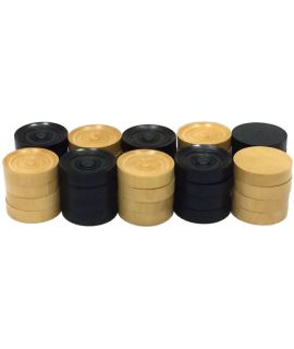 Checkers 35 mm 2 x 20 pieces boxwood - polished (black) flat bottom - tournament style in cardboard box - size 6